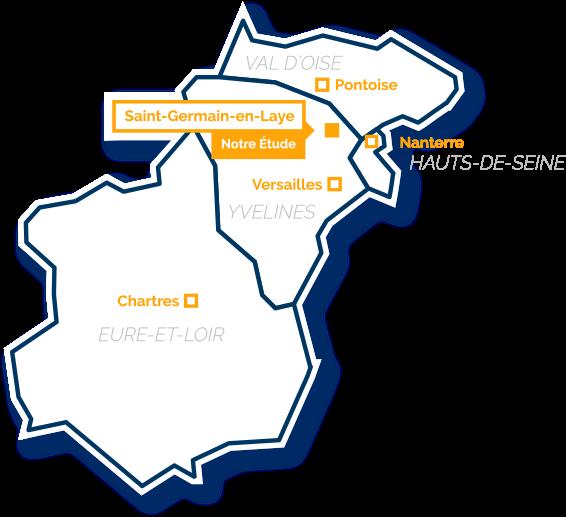 Zone d'intervention de la SELARL Grand Ouest 78